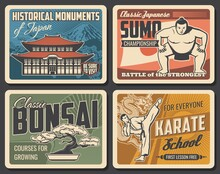 Japanese Sports, Religion And Traditions Retro Banners. Sumo Wrestlers Championship, Karate Fighters School And Bonsai Tree Growing Courses, Japan Temple, Mount Fuji Touristic Landmark Vintage Posters