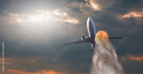 Fototapeta Airplane explosion with engine on fire