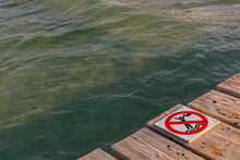 No Jumping From The Pier,at The Beach In Alcudia,majorca,spain