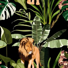Tropical Palm Tree, Exotic Plant,  Orchid Flower, Lion Animal Floral Seamless Border On Black Background. Exotic Safari Wallpaper.
