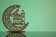 canvas print picture Eid Mubarak concepts with crescent moon in silhouette with mosque