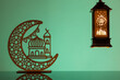 canvas print picture Eid Mubarak concepts with lamp inscribed with arabic text translated to english as Ramadhan is our light., with crescent moon in silhouette