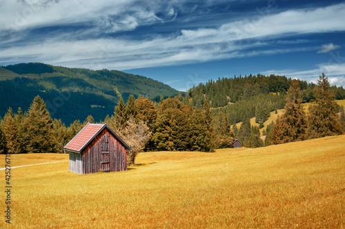 Obraz na plátně Old wooden alpine hut Bavaria Germany