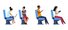 Passengers In Airplane, Bus Or Train Seats. People Sitting In Armchairs In Transport. Men And Women Work With Laptops And Smartphones Or Communicate While Riding In Vehicle, Vector Set