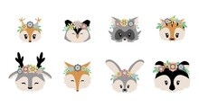 Woodland Animals. Cartoon Forest Characters In Flower Wreaths. Isolated Baby Faces Set. Funny Fox And Squirrel, Furry Raccoon Or Rabbit. Decorative Template For Stickers. Vector Wild Fauna