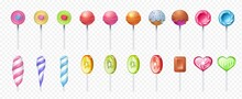 Lollipop. Realistic Round And Spiral Sweet Lolly Candies. Sugar Food On Stick. 3D Caramel Confectioneries On Transparent Background. Colorful Fruit Bonbons Set. Vector Yummy Desserts