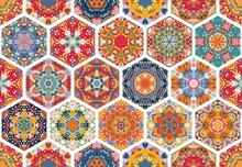 Patchwork Seamless Pattern With Colorful Hexagon Mandalas And White Seams. Vector Illustration