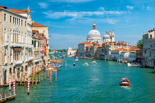 Fototapeta View of Venice Grand Canal and Santa Maria della Salute church on sunset