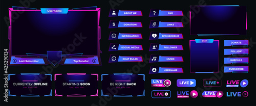 Fotografie, Obraz Streaming screen panel overlay design template neon theme