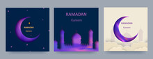 Ramadan Kareem Set Of Posters Or Invitations With 3d Paper Cut Islamic Lanterns, Stars And Moon On Blue And Light Background. Vector