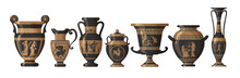 Set Of Antique Greek Amphoras, Vases With Patterns, Decorations And Life Scenes. Ancient Decorative Pots Isolated On White Background, Old Clay Jugs, Ceramic Pottery