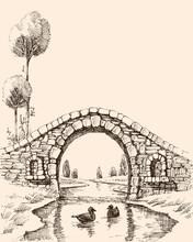 Old Stone Bridge Over River Vector Illustration