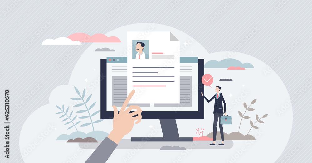 Fototapeta Job description and work duties and tasks information tiny person concept