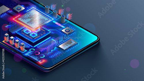 Fototapeta CPU of phone. Microchip, smd electronic components of mobile device on circuit board or motherboard. Digital Processor, parts of repair smartphone. Engineering and develop electronic microcontroller. obraz