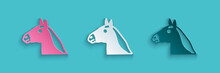 Paper Cut Horse Head Icon Isolated On Blue Background. Animal Symbol. Paper Art Style. Vector