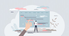 Project Milestones Tracking And Progress Period Control Tiny Person Concept