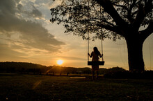 Silhouette Of Woman Sit On A Wooden Swing Under The Tree. Lonely Lady Relaxing And Swinging With Golden Ligth On Sunset On Summer Holiday.