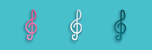 Paper Cut Treble Clef Icon Isolated On Blue Background. Paper Art Style. Vector