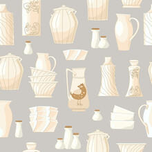 Seamless Texture With White Cute Ceramic Crockery For Your Desig