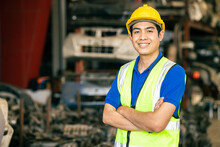 Confident Asian Male Engineer Worker Standing Arm Crossed Happy Smile For Enjoy Working In Factory