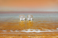 Beach On The Dead Sea, A Sunny Day In May
