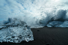 Diamond Beach (Jokulsarlon) Landscape In East Iceland. Ice On Black Volcanic Sand In The Day