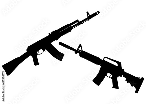 Tela Combat weapon submachine gun included. Vector image.