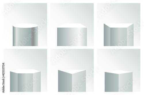 Fototapeta Realistic vector pedestal base collection