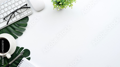 Obraz Top view desk white space there are office equipment. Copy workspace - fototapety do salonu