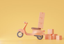 Lift The Wheel Carry Heavy Delivery Fast Speed Concept Motorcycle Scooter Home And Office Shipping. Service Express Trunking On Soft Orange Pastel Background.