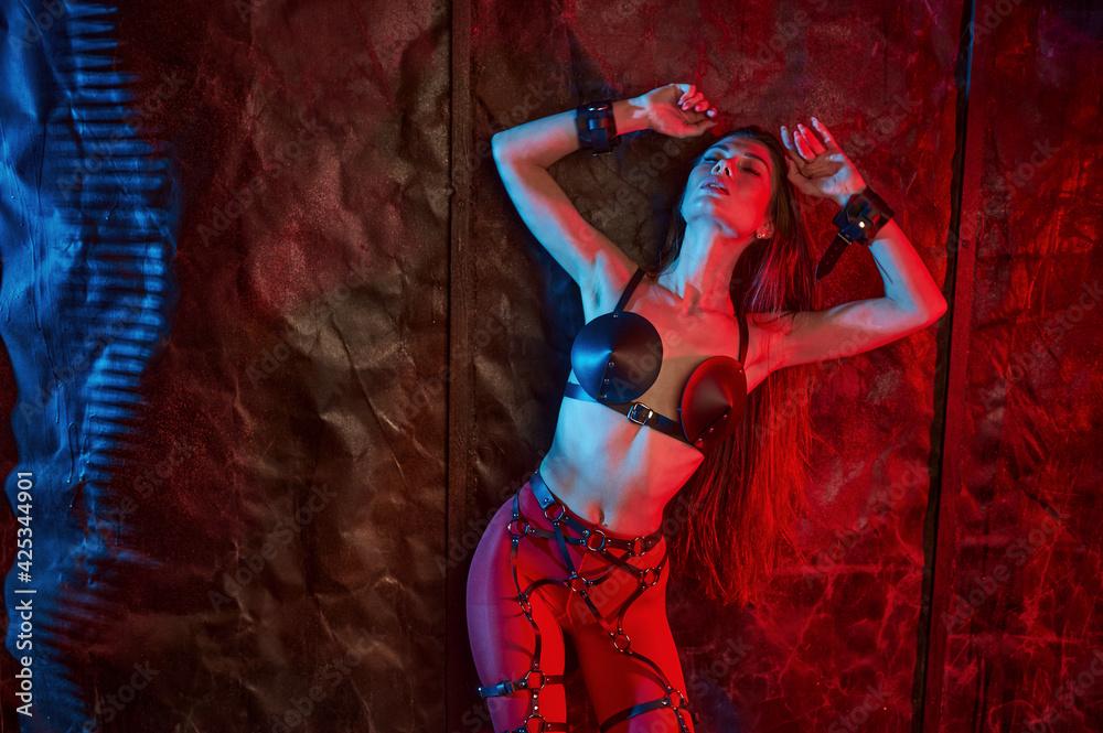 Fototapeta Attractive lady in bdsm handcuffs, sexual fantasy