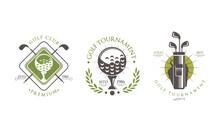 Golf Tournament Premium Logo Set, Golf Club, Sport Championship Retro Badges Vector Illustration