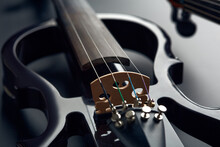 Modern Electric Violin And Bow, Closeup View