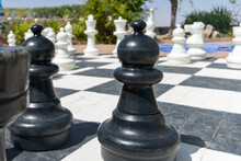 Life Size Chess Board Ground View From Pawn To Rest Of Recreational Game Set. Outdoor Fun.