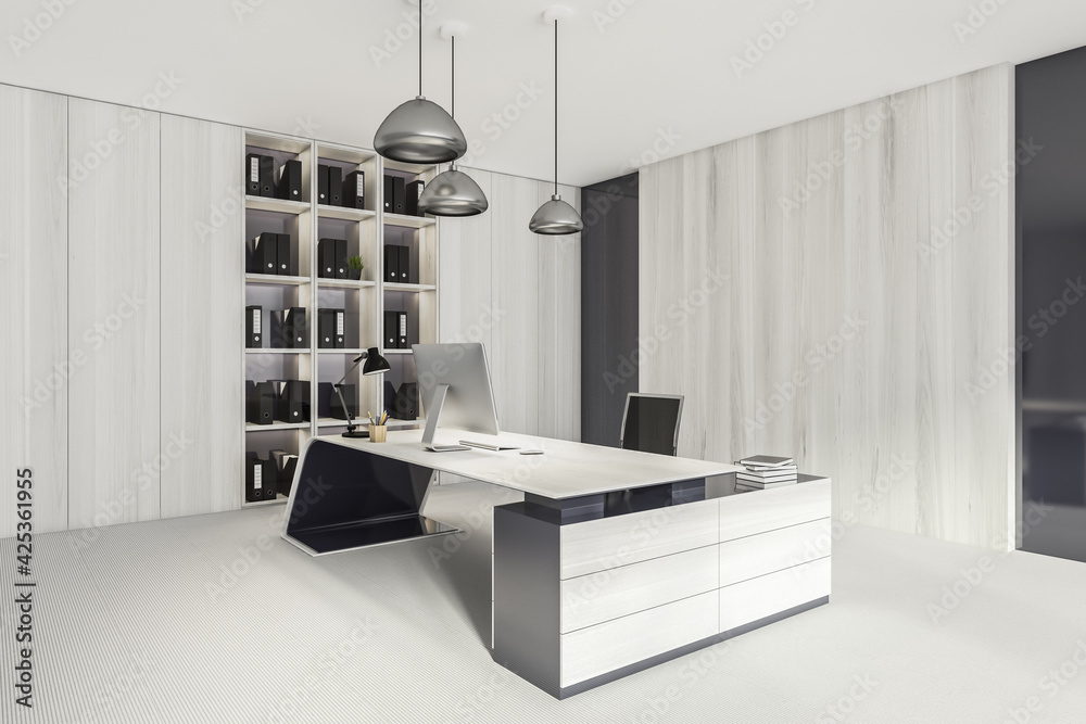 Fototapeta Business consulting room interior with furniture and shelf, mockup