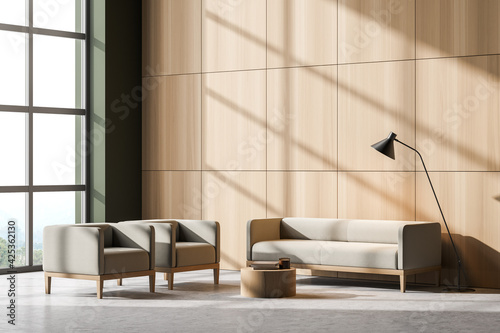 Obraz Bright living room interior with two comfortable armchairs and sofa - fototapety do salonu