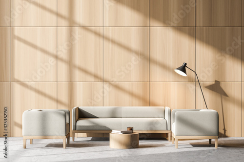 Obraz Bright waiting room interior with two comfortable armchairs and sofa - fototapety do salonu