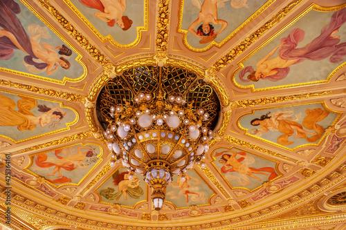 Fototapeta The huge plafond over the Opera Theatre hall, on May 12 in Lvov, Ukraine