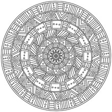 Symmetrical Mandala With Linear Patterns, Meditative Coloring Page In The Shape Of A Circle