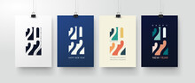 Set Of Happy New Year Posters, Greeting Cards, Holiday Covers. Merry Christmas Design Templates With Typography, Season Wishes In Modern Minimalist Style For Web, Social Media. Vector Illustration.