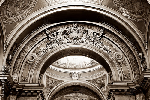 Tela Interior of the catholic Cathedral of Arad, Romania, Europe