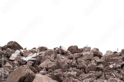 Concrete fragments of a destroyed building isolated on a white background Fotobehang