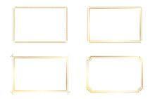 Set Of Vector Gold Frames. Design Frames Png. Frames On An Isolated Transparent Background.