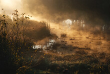 Mist And Fog Over The River, Early Morning, Sun Beams, Sun Rays On The Water, Mystery In The Nature, Morning Magic.