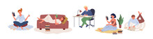 People Study Learn Or Work At Home Set, Young Woman Holding Book, Man Sitting At Table