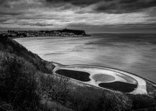 Black And White Photo Of The South Bay In Scarborough On The North Yorkshire Coast