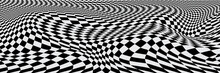 Chess Waves Board. Abstract 3d Black And White Illusions. Pattern Or Background With Wavy Distortion Effect