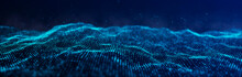 Wave Of Particles. Dynamic Wave On Blue Background. Big Data Visualization. Data Technology Abstract Futuristic Illustration. 3d Rendering.