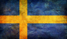 Retro Flag Of Sweden  With Grunge Texture. Top View