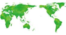 アジアを中心とした水彩風の世界地図、緑